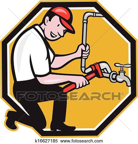 工, 修理, 水龙头, 轻敲, 卡通漫画