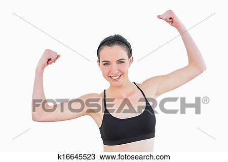 肖像, 在中, a, 象运动员, 适合, 少女, 握紧, 拳头, 对, 白的背景