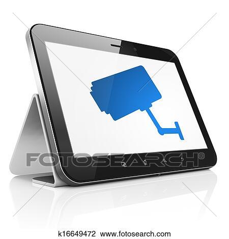 clipart s curit concept appareil photo cctv sur pc tablette informatique k16649472. Black Bedroom Furniture Sets. Home Design Ideas