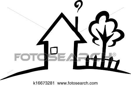 Haus clipart schwarz weiß  Clipart - schwarz weiß, silhouette, von, a, kleines haus k16673281 ...