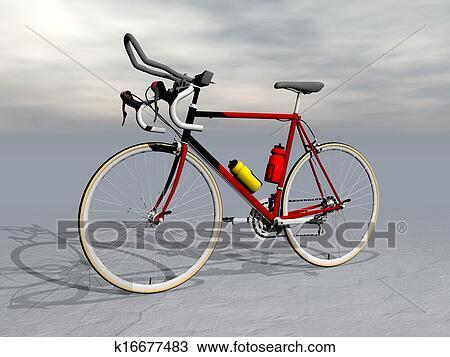 手绘图 - 比赛自行车,