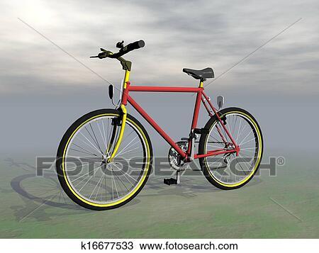 手绘图 - 山地自行车,