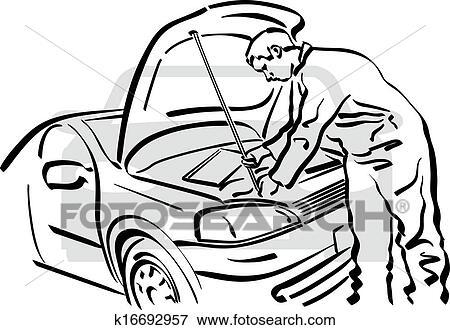 维修电灯简笔画-剪贴画 汽车修理
