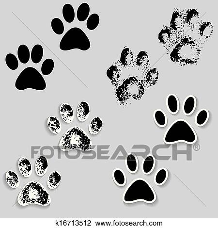 Clipart of Animal cat paw track feet print icons with shadow ...