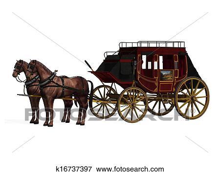 stock illustration postkutsche mit pferden k16737397