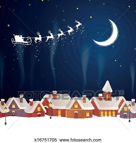 Clipart Of Vector Santa Claus Flying Over A Village