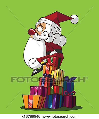 剪贴画 圣诞老人, 握住一件礼物, 盒子