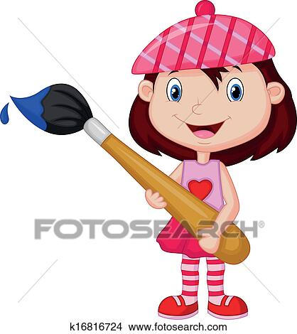 Clipart of Cartoon Little girl is painting wit k16816724 ...