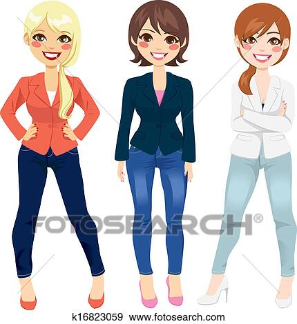 New Fashion Illustration Of Three Elegant Young Women Wearing Jeans And