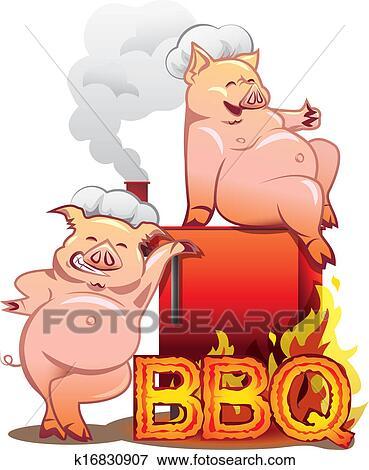 Clipart deux sourire cochons dans chefs chapeaux - Dessin cochon debout ...