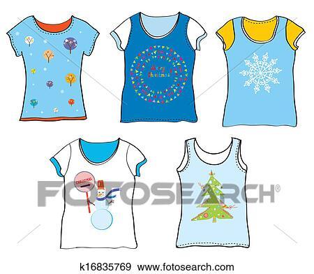 Clip Art of Christmas t-shirt set funny design k16835769 ...