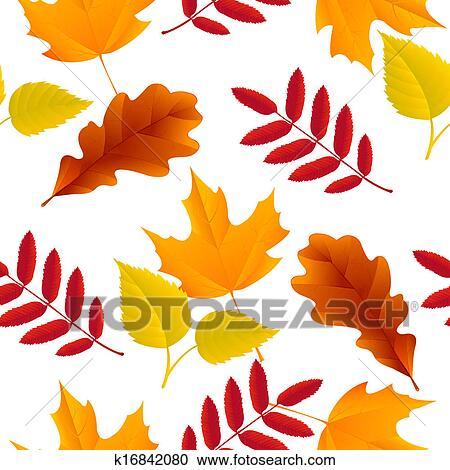 剪贴画 - seamless, 秋季树叶, 模式图片