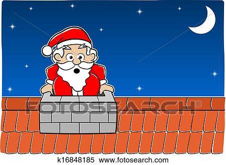 剪贴画 圣诞老人, 粘贴, 在中, the, 烟囱