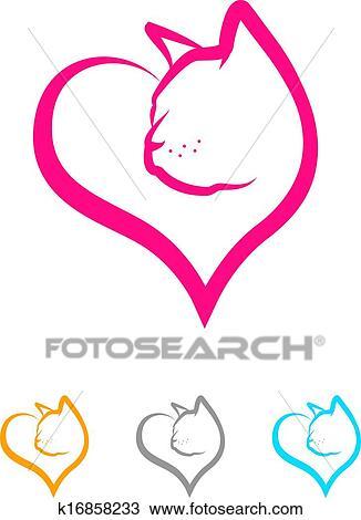 Clipart gatto cuore k16858233 cerca clipart for Gatto clipart