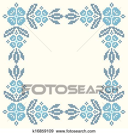 Clip Art of Cross-stitch embroidery in Ukrainian style k16859109 ...