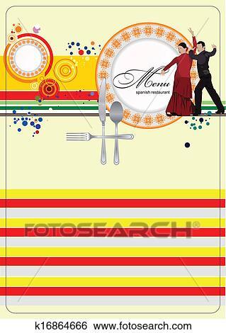 Clip Art of Restaurant spanish menu. Vector ill k16864666 - Search ...
