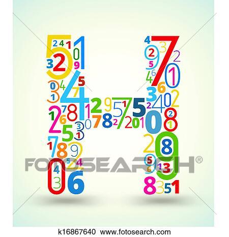 失量图库 - 信件h, 彩色, 矢量, 字体, 从, 数字图片