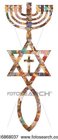 Picture Of Menorah Star Of David Fish Cross K16868037