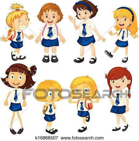 Clip Art Uniform Clipart uniform clipart royalty free 48599 clip art vector eps eight schoolgirls in their uniforms