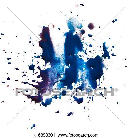 banques de photographies bleu tache tache maculer peinture aquarelle isol blanc. Black Bedroom Furniture Sets. Home Design Ideas