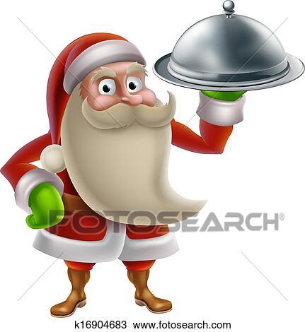 Clipart of Cartoon Santa Cooking Christmas Dinner k16904683 ...