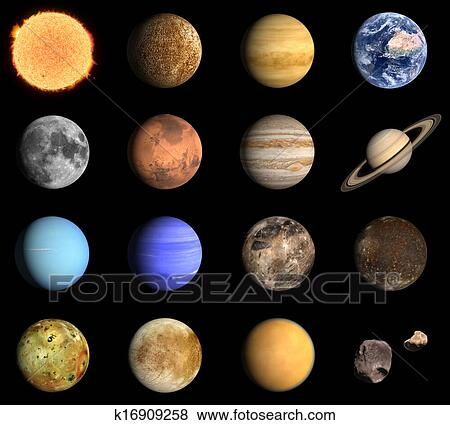 stock illustration of planets and some moons of the solar