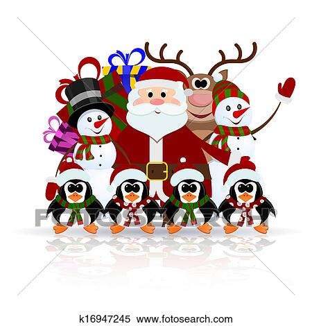 剪贴画 圣诞老人 , 企鹅, 驯鹿 , 同时,, 雪人, 在上