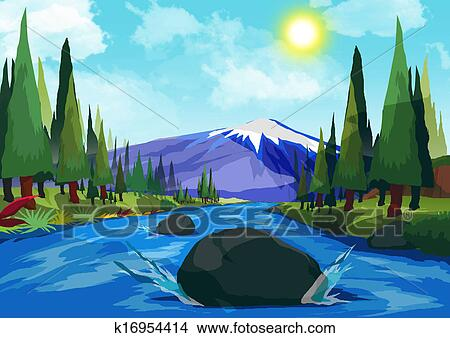 Mountains And Rivers Drawing Drawing Mountain River