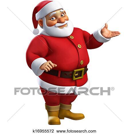 Clip Art of 3d cartoon santa k16955572 - Search Clipart ...
