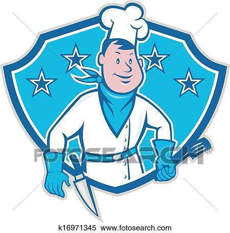 Clipart chef cuistot cuisinier toile bouclier for Cuisinier 32 etoiles