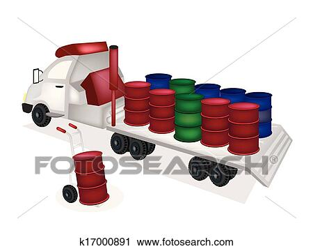 Clipart of Hand Truck Loading Oil Barrels into Tractor Trailer ...