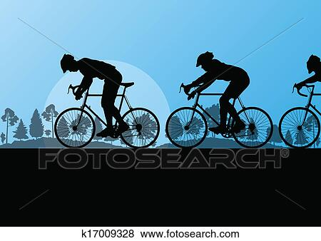 Clip Art of Sport road bike riders and bicycles detailed ...