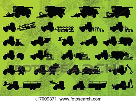 Clipart Of Agriculture Industrial Farming Equipment