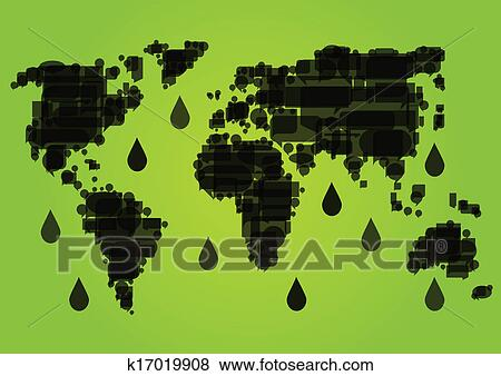 Clip art of world map made of black dripping oil fields for Environmental graphics giant world map wall mural
