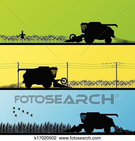 Clipart of Combine harvesting crop in grain fields vector ...