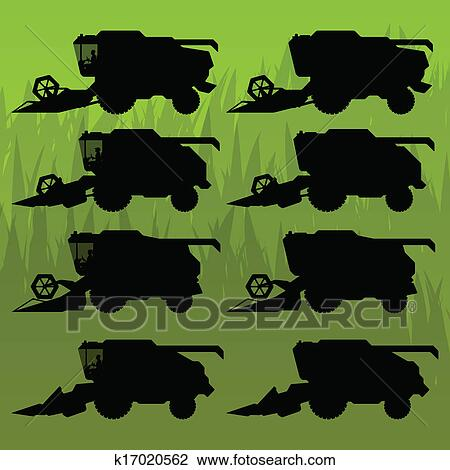 Clipart of Combine harvesting crop wheat, barley, rye, oats and ...