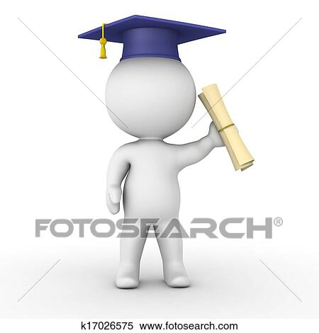 stock illustration of d man holding graduation diploma k  stock illustration 3d man holding graduation diploma search clipart drawings