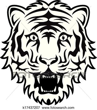 vector stylized black and white tiger face View Large Clip Art Graphic Tiger Face Black And White Clipart