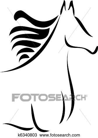 手绘图 - 马, 侧面影象
