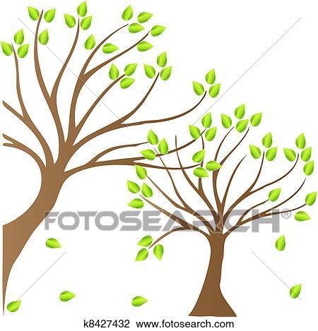 剪贴画 - 春天, 树, 标识语图片