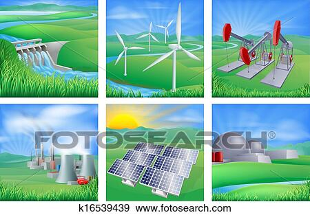 Clip Art Of Power And Energy Sources K16539439 Search