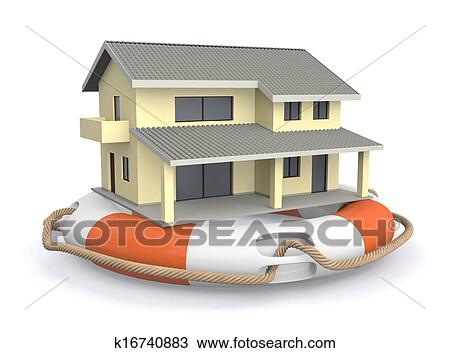 One Lifesaver With A House, Concept Of Protection (3d Render)