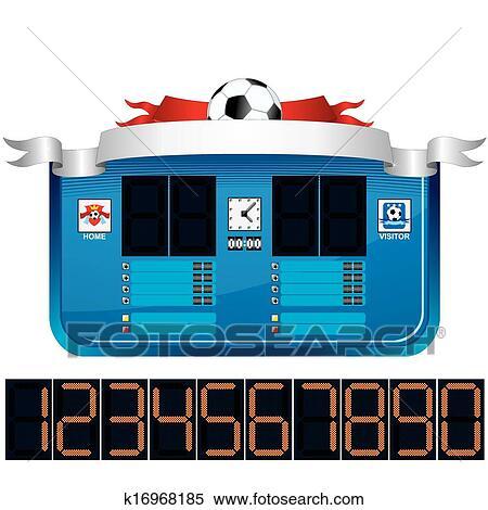 clipart of soccer scoreboard vector ready for your text k16968185 rh fotosearch com football scoreboard clip art scores clipart