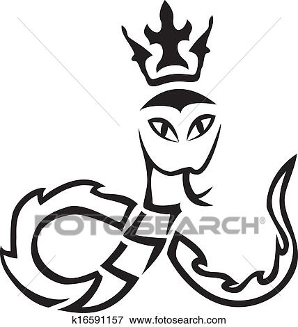 clip art of vector tribal a snake with a crown k16591157 search rh fotosearch com tribal clipart black and white tribal clip art designs free