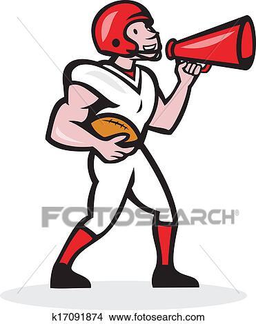 clipart of american football quarterback bullhorn isolated cartoon rh fotosearch com