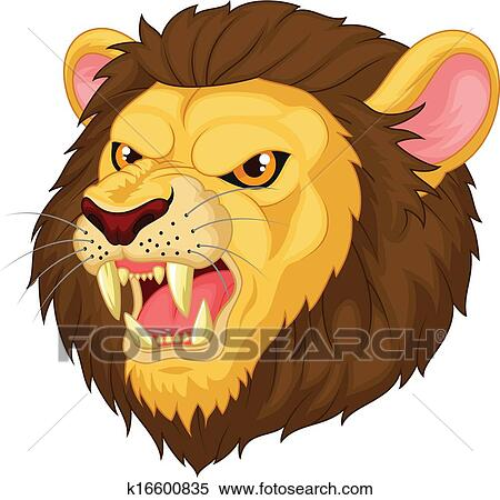 Clipart Of Angry Cartoon Lion Head Mascot K16600835