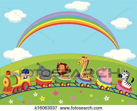 Clip Art of Animal train cartoon k16063037 - Search ...