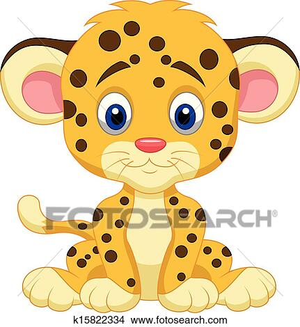 clipart of baby leopard cartoon k15822334 search clip art rh fotosearch com Prints Clip Art Black Roses Leopard Print Heart Clip Art