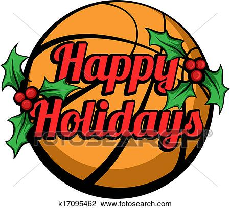 clipart of basketball happy holidays stacked k17095462 search clip rh fotosearch com happy holidays clip art images happy holidays clip art pictures