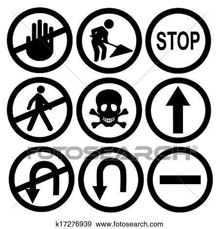 Clip Art Of Black Traffic Signals K17276939